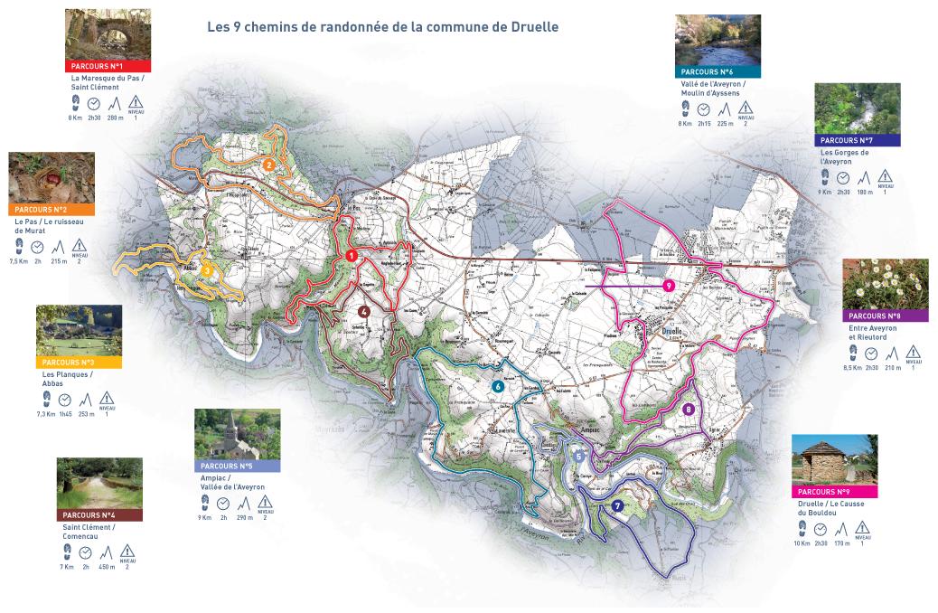 Les 9 chemins de randonnée de la commune de Druelle